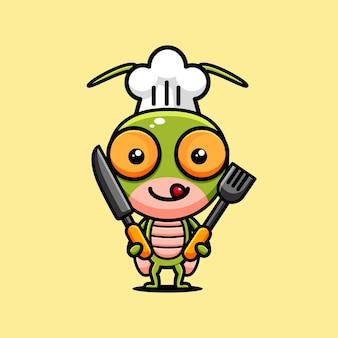 Chef temático de design de personagem gafanhoto fofo