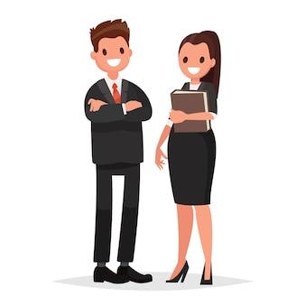 Chefe da empresa a mulher chefe e secretária