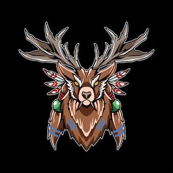Chefe da ilustração de arte de cervos indianos