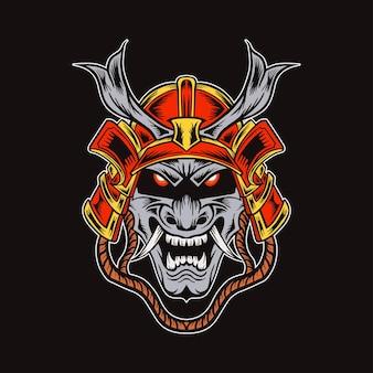 Chefe da ilustração do samurai demônio japonês