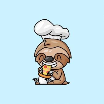 Chefe de chefe bonito vestido de prego comendo pizza