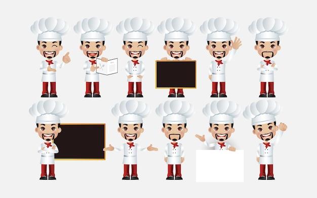Chefe de cozinha. pessoas com poses diferentes.