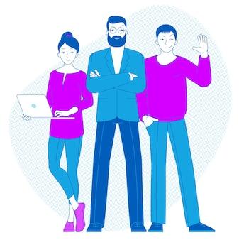 Chefe de equipe se destaca, executivos, trabalhadores de escritório, conceito de liderança com personagens de desenhos animados