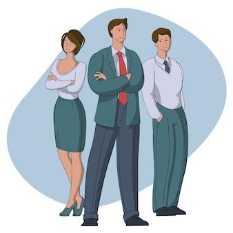Chefe de equipe se destacam empresários trabalhadores de escritório