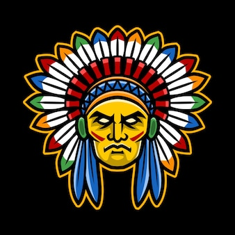 Chefe do índio americano colorido