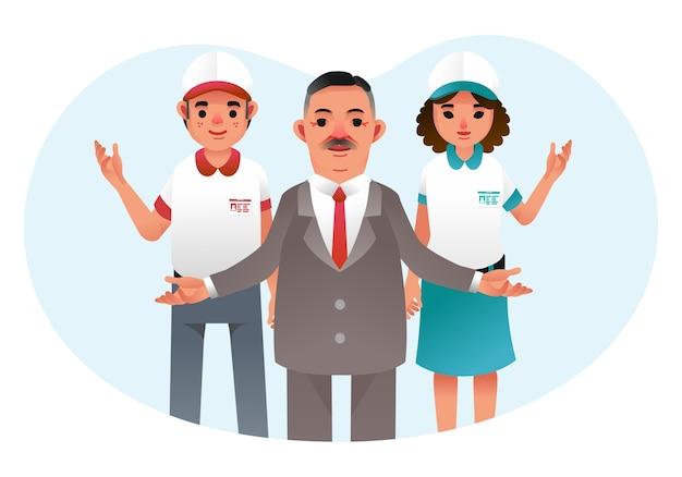 Chefe e dois funcionários, homens e mulheres, de mãos abertas, os funcionários vestindo uniforme de trabalho