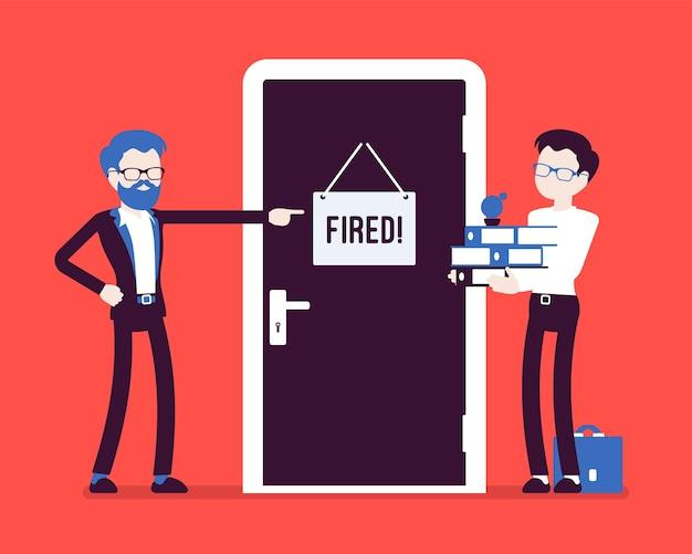 Chefe e trabalhador de escritório despedido