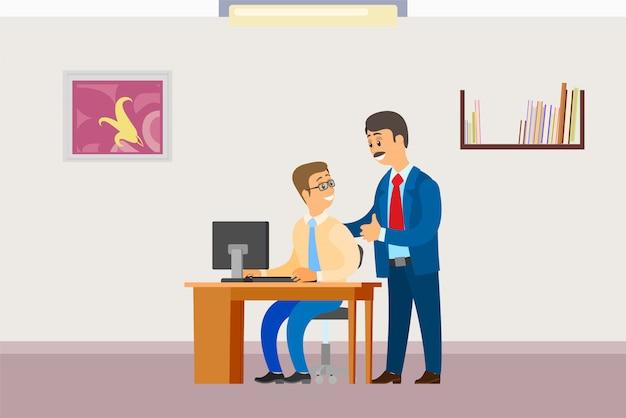 Chefe, em, escritório, homem negócios, supervisor, com, trabalhador