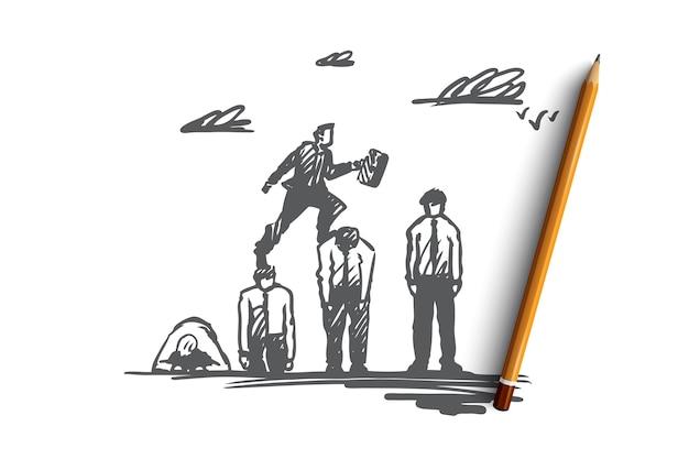 Chefe, empresário, carreira, conceito de vantagem. líder desenhado de mão saltando com sucesso sobre o esboço do conceito de todos os obstáculos