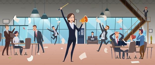 Chefe feminino zangado. problema de gestores de processos corporativos de prazo em execução no fundo de escritório de local de trabalho de estresse.