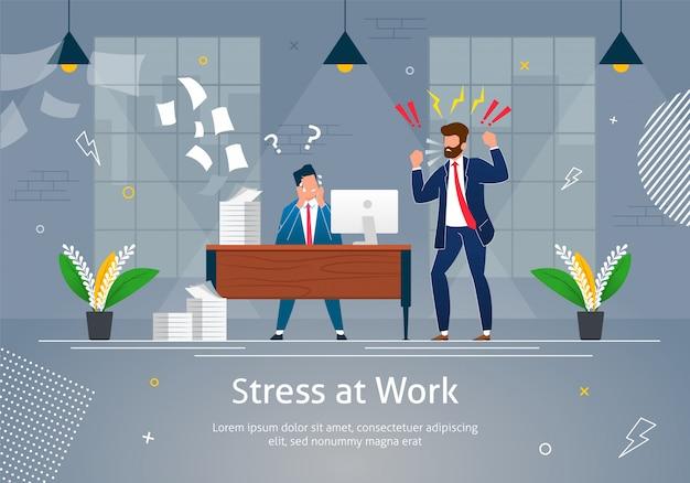 Chefe homem personagem gritando no trabalhador estressado.