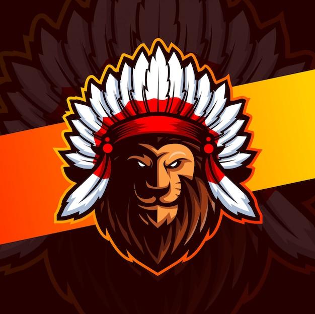 Chefe indiano leão mascote esport design de logotipo