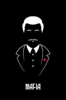Chefe mafioso com bigode e smoking.
