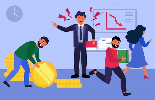 Chefe nervoso gritando com funcionários