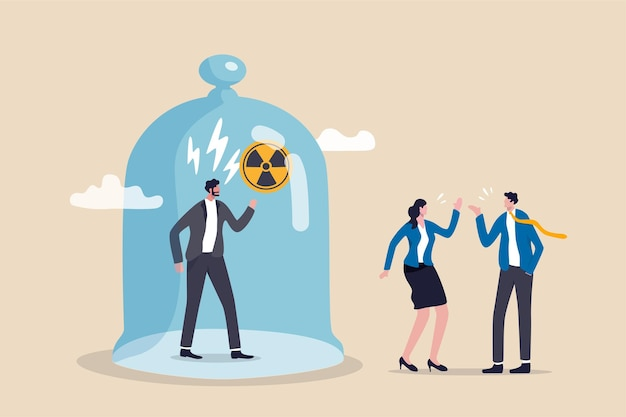 Chefe tóxico, ambiente ruim no local de trabalho, injustiça, microgerenciamento ou conceito de gerente enganoso