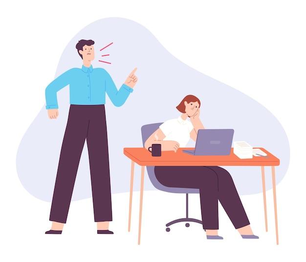 Chefe zangado. gerente de escritório gritar com o funcionário cansado. lute e grite em equipe de trabalho. líder empresarial ruim, estresse no trabalho e conceito de vetor de abuso. atitude desrespeitosa em relação à trabalhadora