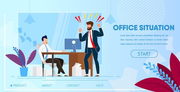 Chefe zangado, gritando com empregado de escritório.