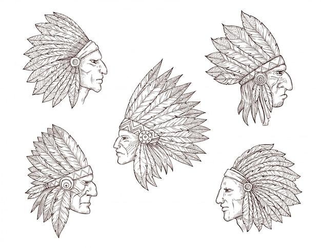 Chefes indianos nativos americanos com penas