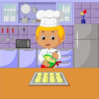 Chefs com conjunto de cozinha