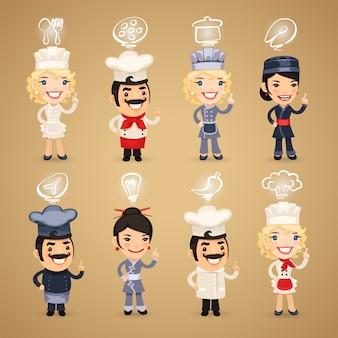 Chefs com conjunto de ícones
