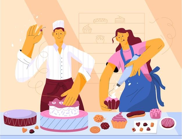 Chefs confeiteiros profissionais decorando bolo de creme