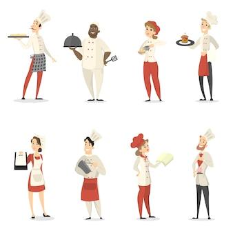 Chefs de pessoas conjunto de cozinhar e trabalhar no restaurante.