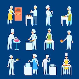 Chefs e processo de confeiteiro cortam ferver grill e misturar personagens