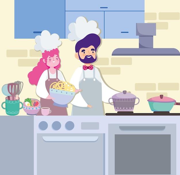 Chefs preparando receitas de macarrão cozinhando
