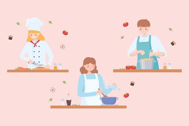 Chefs profissionais, chef masculino e feminino em restaurante ou em casa