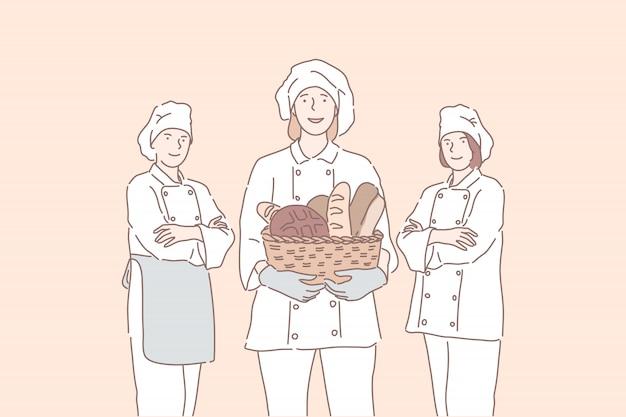 Chefs profissionais oferecem produtos, pão, pão francês.