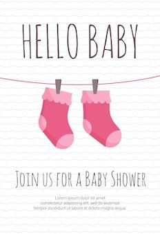 Chegada de bebê menina e modelo de convite de chuveiro