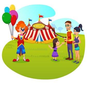Chegada de circo dos desenhos animados.