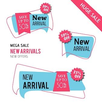Chegada nova tags vector design