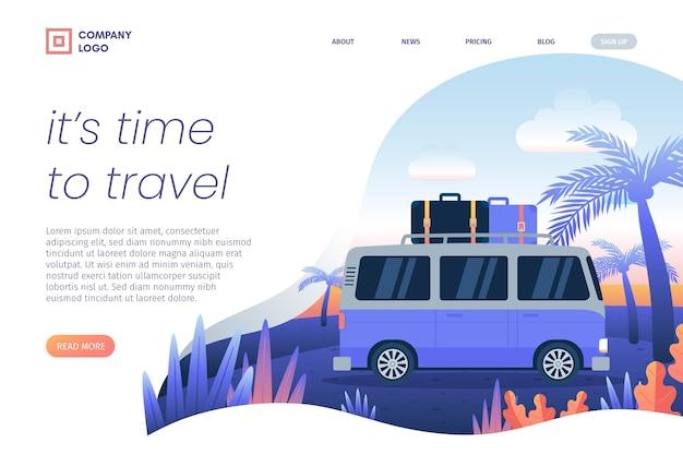 Chegou a hora de viajar na página de destino da van
