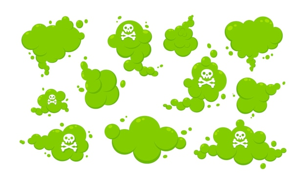 Cheirando desenho animado verde peido nuvem estilo simples design ilustração vetorial com texto peido conjunto