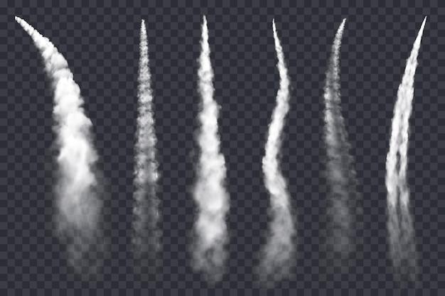 Chemtrails de avião, nuvens de jato de ar, rastros