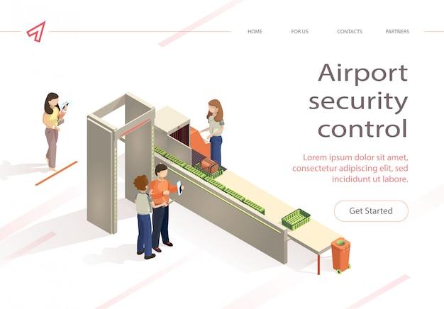 Cheque de bagagem de controle de segurança de aeroporto de vetor plana