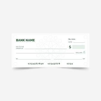 Cheque em branco plano linear