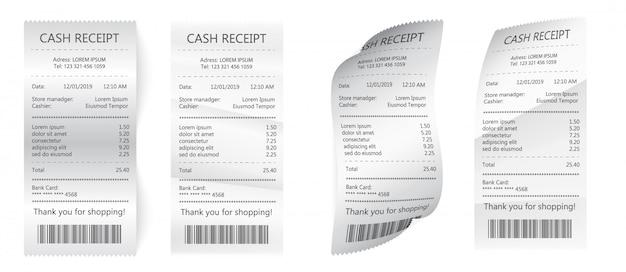 Cheque financeiro de papel isolado.