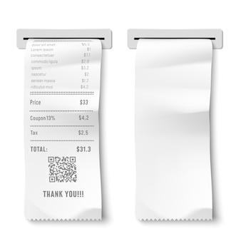 Cheque impresso realista. recibo de transação, nota de pagamento e cheques financeiros isolados ilustração 3d