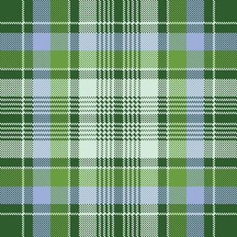 Cheque verde tecido xadrez textura pixel sem costura padrão