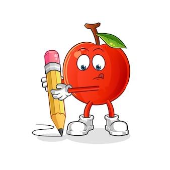 Cherry escreve com caracteres de lápis. mascote dos desenhos animados