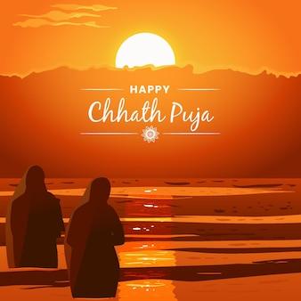 Chhath puja desenhada à mão