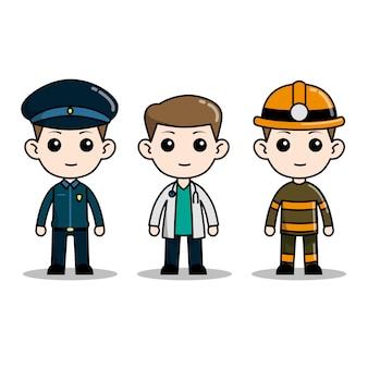 Chibi caráter equipe de serviço de emergência