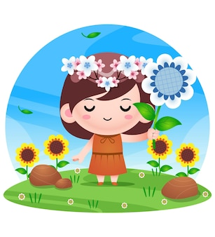 Chibi cartoon flower princess