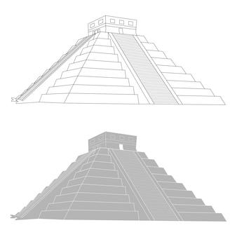 Chichen itza, pirâmide maia mexicana em fundo branco, ilustração vetorial