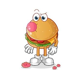 Chiclete de hambúrguer. personagem de desenho animado