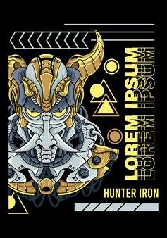 Chifre de mecha, caçador ferro ilustração vetorial arte t-shirt design caçador ferro mecha