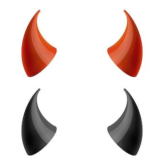 Chifres de diabo vermelhos e pretos.
