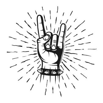 Chifres de metal pesado com as mãos estampados com raios